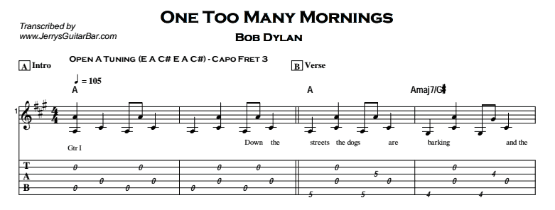 Bob Dylan – One Too Many Mornings Tab