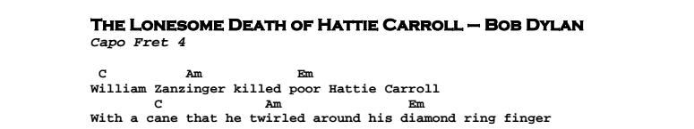 Bob Dylan – The Lonesome Death of Hattie Carroll Chords & Songsheet