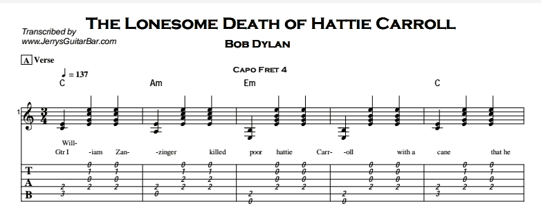 Bob Dylan – The Lonesome Death of Hattie Carroll Tab