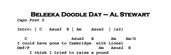 Al Stewart – Beleeka Doodle Day Chords & Songsheet