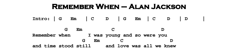 Alan Jackson – Remember When Chords & Songsheet