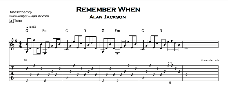 Alan Jackson – Remember When Tab