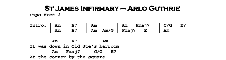 Arlo Guthrie - St James Infirmary Chords & Songsheet