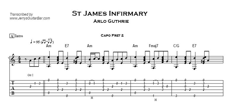 Arlo Guthrie - St James Infirmary Tab
