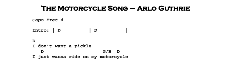 Arlo Guthrie - The Motorcycle Song Chords & Songsheet