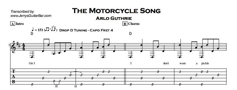 Arlo Guthrie - The Motorcycle Song Tab