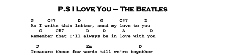The Beatles – P.S. I Love You Songsheet & Tab