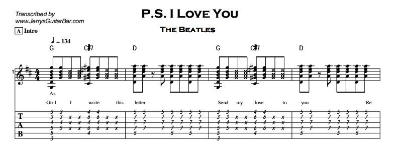 The Beatles – P.S. I Love You Tab