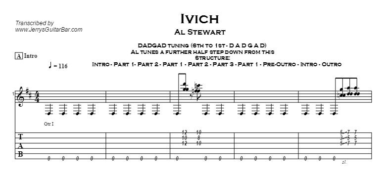 Al Stewart – Ivich (fingerstyle instrumental) Tab
