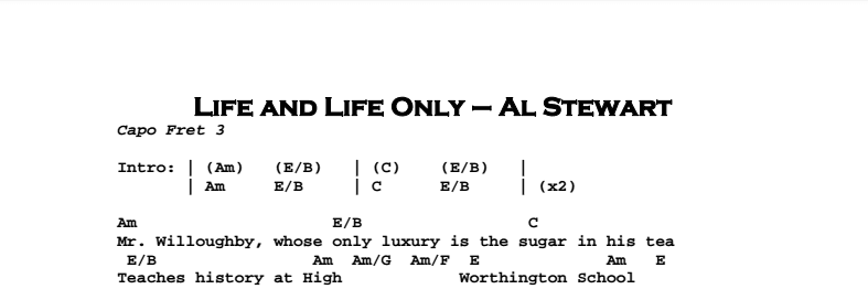 Al Stewart - Life And Life Only Songsheet optimized 0