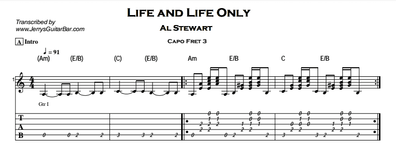 Al Stewart – Life and Life Only Tab