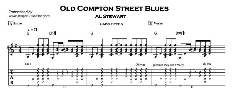 Al Stewart – Old Compton Street Blues Tab