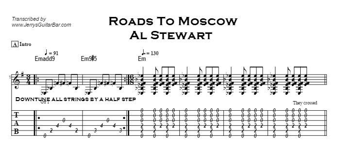 Al Stewart - Roads To Moscow Tab