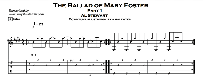Al Stewart – The Ballad of Mary Foster Tab