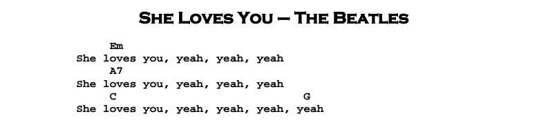 The Beatles – She Loves You Songsheet & Chords