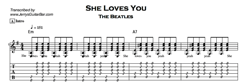 The Beatles – She Loves You Tab