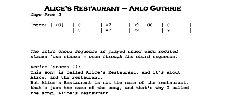 Arlo Guthrie Alices Restaurant Jerrys Guitar Bar