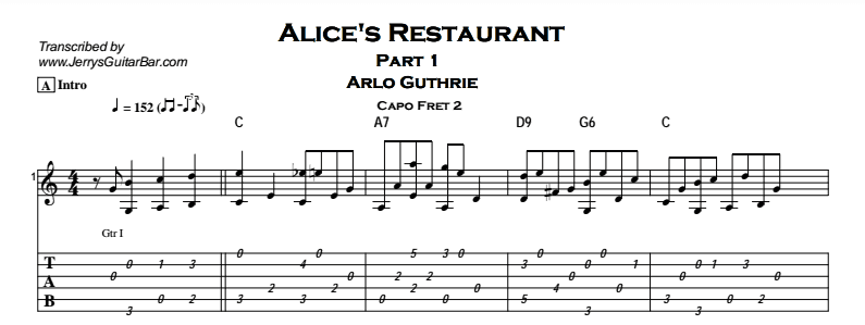 Arlo Guthrie - Alice's Restaurant Tab