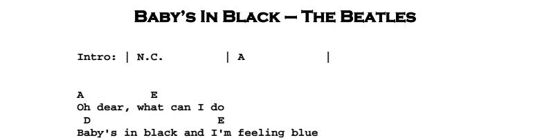 Beatles - Baby's In Black Chords & Songsheet