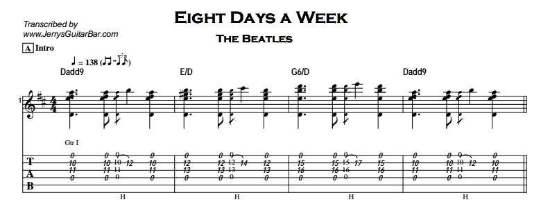 Beatles - Eight Days a Week Tab