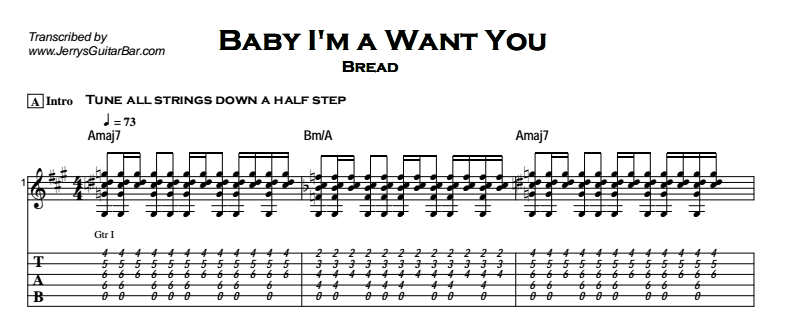 Bread - Baby I'm a Want You Tab