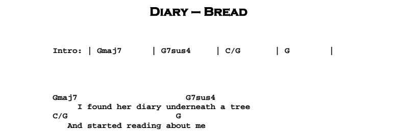 Bread - Diary Chords & Songsheet