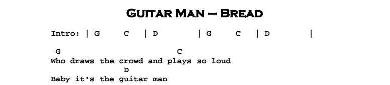 Bread - Guitar Man Chords & Songsheet