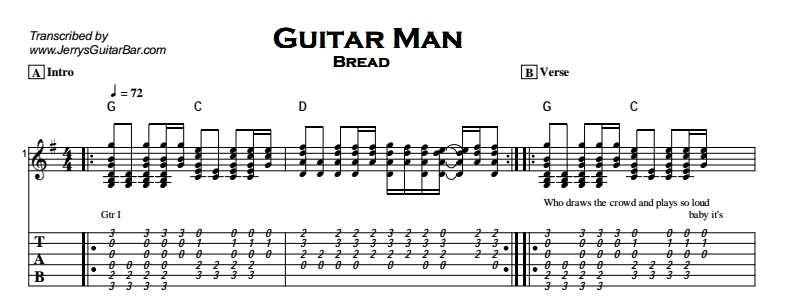 Bread - Guitar Man Tab