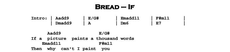Bread - If Chords & Songsheet