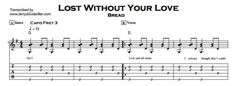 Bread - Lost Without Your Love Tab
