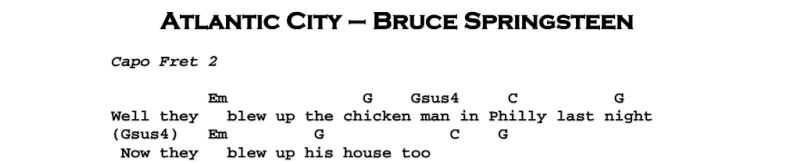 Bruce Springsteen - Atlantic City Chords & Songsheet