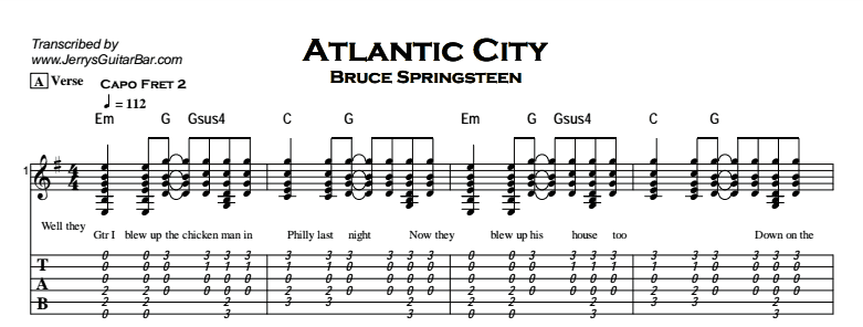 Bruce Springsteen - Atlantic City - Jerryu0026#39;s Guitar Bar