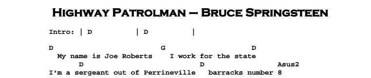 Bruce Springsteen - Highway Patrolman Chords & Songsheet