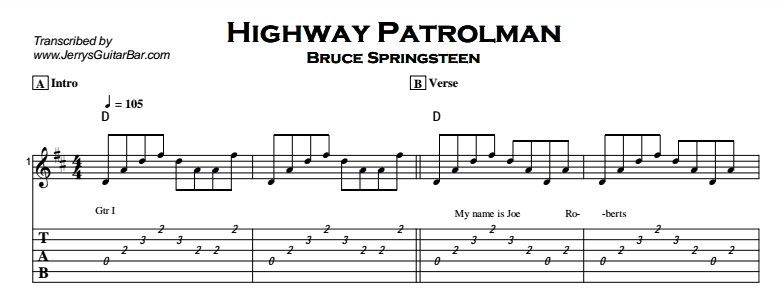 Bruce Springsteen - Highway Patrolman Tab
