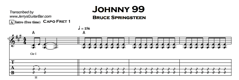 Bruce Springsteen - Johnny 99 Tab