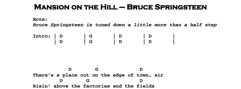 Bruce Springsteen - Mansion on the Hill Chords & Songsheet