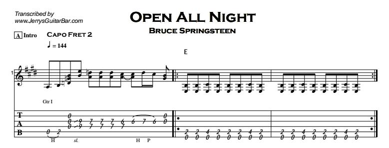 Bruce Springsteen - Open All Night Tab
