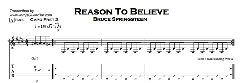 Bruce Springsteen - Reason to Believe Tab