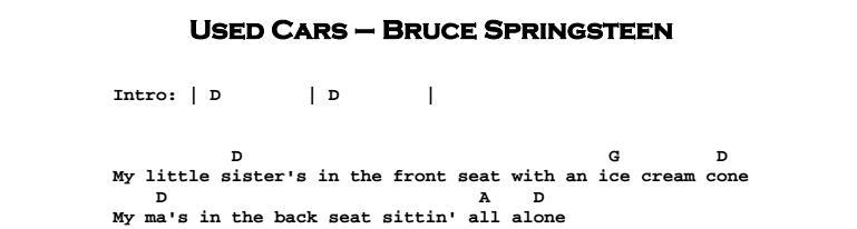 Bruce Springsteen - Used Cars Chords & Songsheet