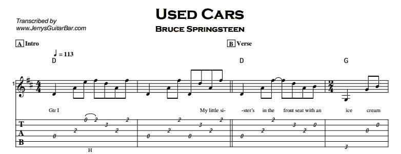 Used Cars Bruce Springsteen Lyrics