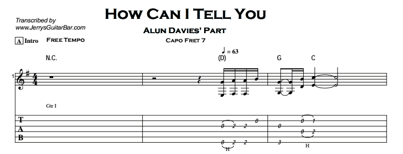 Cat Stevens – How Can I Tell You Tab
