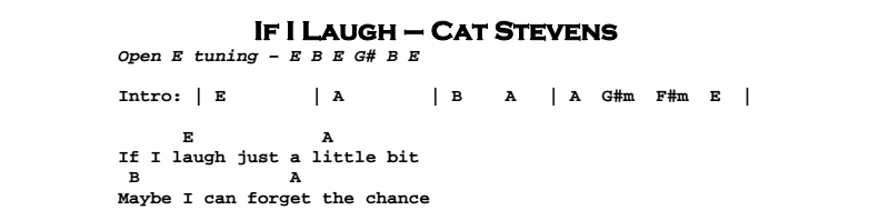 Cat Stevens – If I Laugh Chords & Songsheet