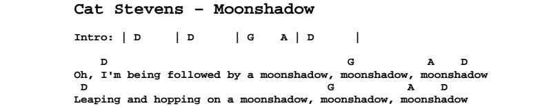 Cat Stevens - Moonshadow Chords & Songsheet