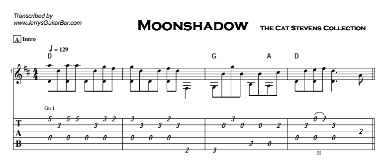 Cat Stevens - Moonshadow Tab