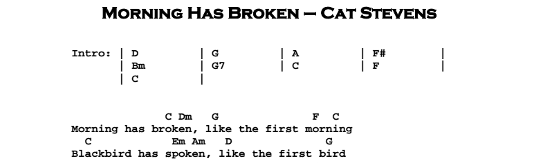 Cat Stevens – Morning Has Broken Chords & Songsheet