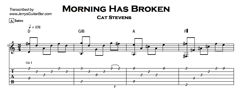 Cat Stevens – Morning Has Broken - Jerry\'s Guitar Bar