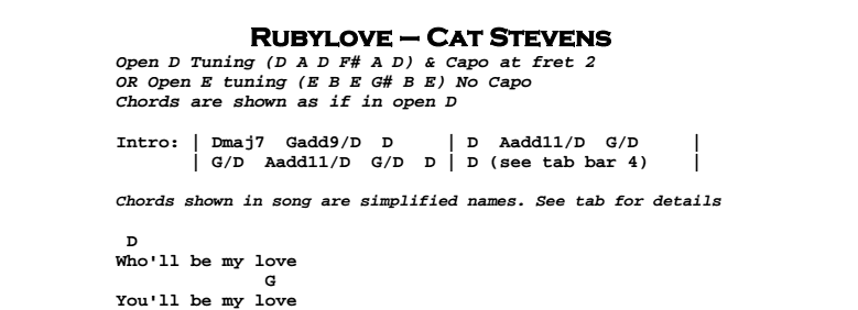 Cat Stevens - Rubylove Chords & Songsheet