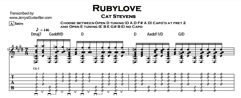 Cat Stevens - Rubylove Tab