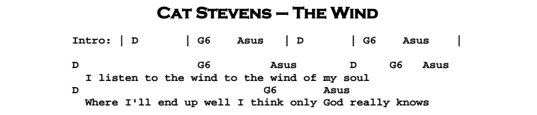 Cat Stevens - The Wind Chords & Songsheet