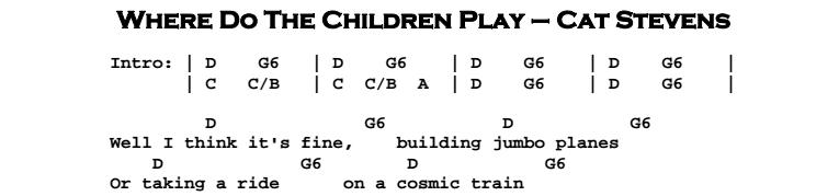 Cat Stevens – Where Do The Children Play Chords & Songsheet
